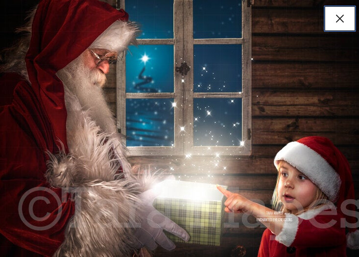 Santa with Magic Gift by Christmas Window - Christmas Magic Holiday Digital Background Backdrop