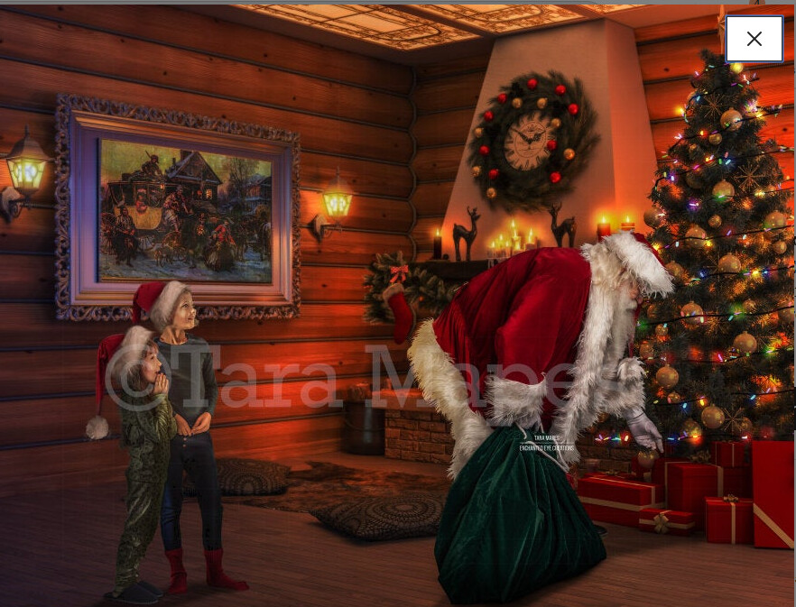 Santa with Sack by Tree - Catching Santa - Cozy Christmas Scene - Christmas Holiday Digital Background Backdrop