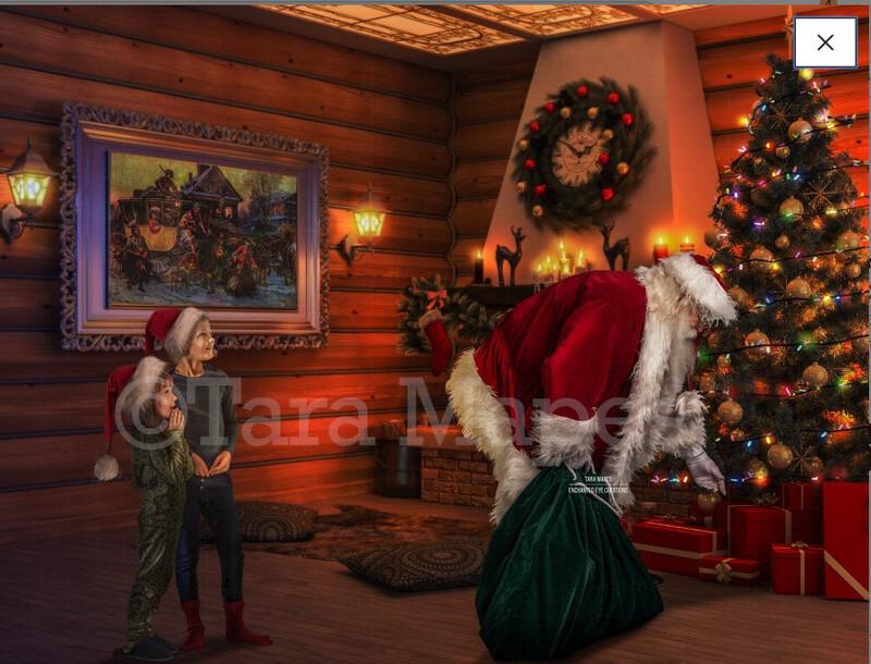 Santa with Sack by Tree - Catching Santa - Cozy Christmas Scene - Christmas Holiday Digital Background Backdrop