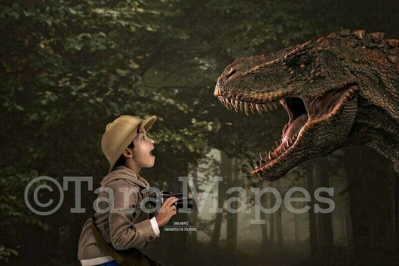 Big Dinosaur Scare in Woods - Funny Dinosaur T-Rex Screaming in Forest Digital Background Backdrop
