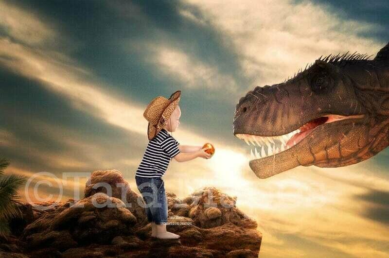 Big Dinosaur Feeding Funny Dinosaur T-Rex Screaming by Cliff Digital Background Backdrop