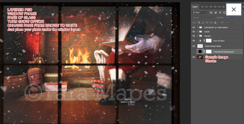 Christmas Window Overlay - Window Pane with Separate Snow Layered PSD - Winter Christmas Window Digital Background Backdrop