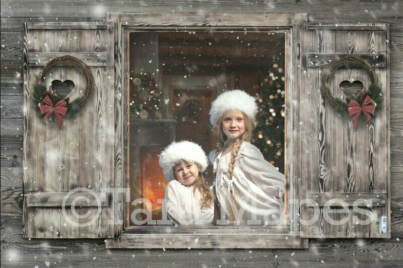 Christmas Winter Window View Christmas Tree Holiday Wreaths Snowy w/FREE SNOW OVERLAY Digital Background Backdrop
