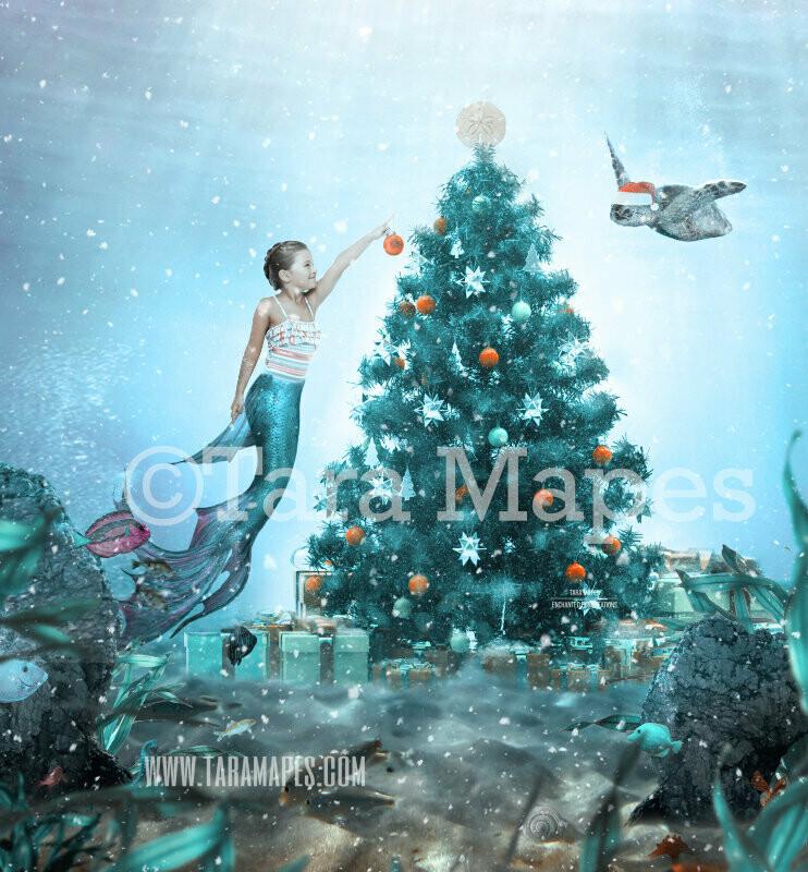 Christmas Mermaid Underwater Decorating Tree - Mermaid with Turtle - Winter Holiday Mermaid in Ocean Digital Background / Backdrop