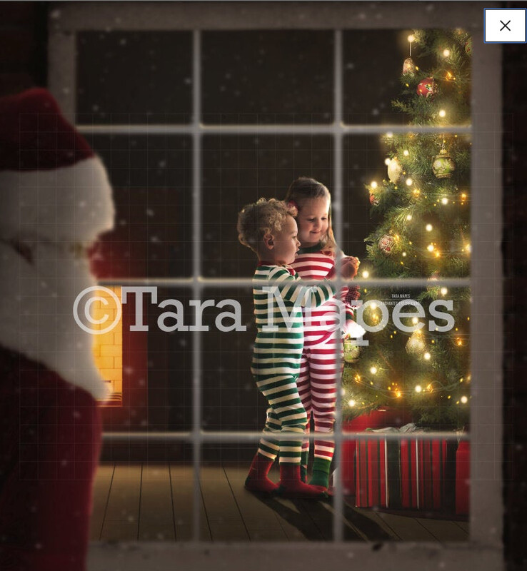 Christmas Window Santa Watching Kids Through Window Christmas Tree with FREE TUTORIAL (Link in description) Layered PSD File Digital Background Backdrop