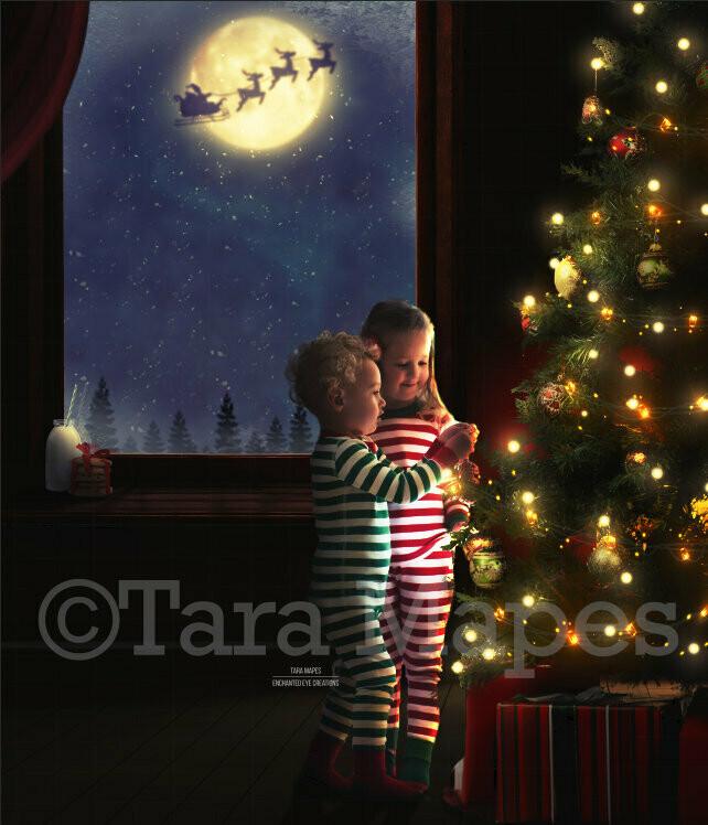 Decorating a Christmas Tree Santa in Moon Watching Holiday Christmas Digital Background Backdrop