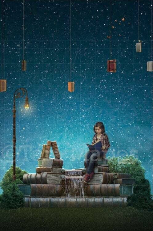 Book Fountain Portrait Orientation- Magical World - Book Lover- Fountain of Youth - Digital Background