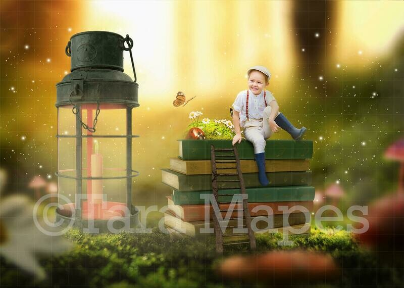 Book Stack in Fairy Forest Digital Background