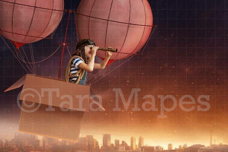 Cardboard Hot Air Balloon Digital Background