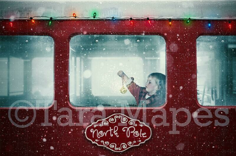 Red Christmas Train - Christmas Train Ride with Christmas Lights - Holiday Magical Christmas Train Digital Background