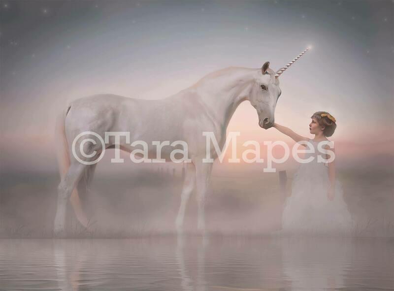 Unicorn by Lake Digital Background - Magical Unicorn Digital Backdrop