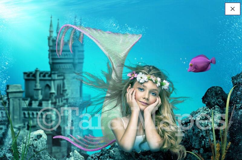 Mermaid Castle - Underwater in Ocean - Mermaid Princess  - Digital Background Backdrop