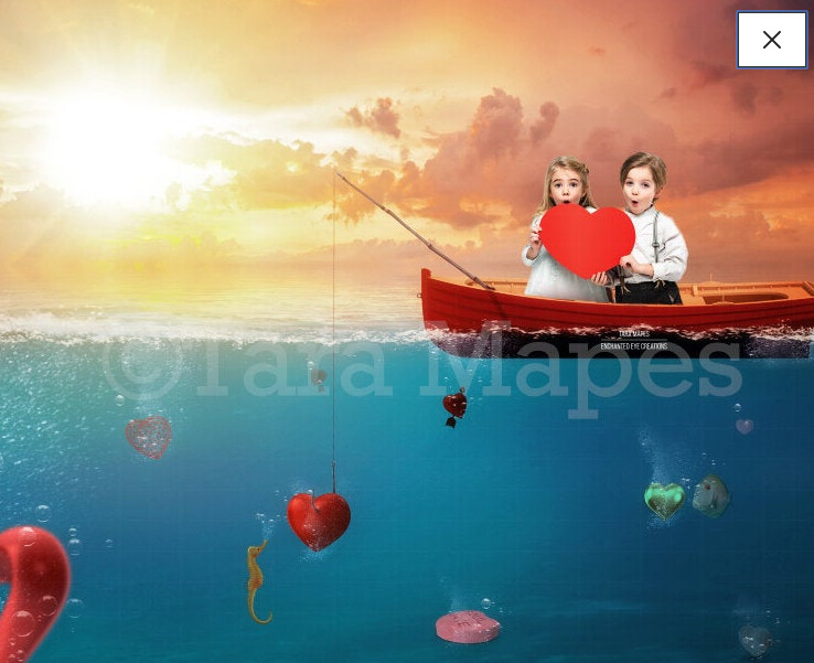 Heart Fishing Valentine's Day - Couple- Love- Hearts- Digital Background Backdrop