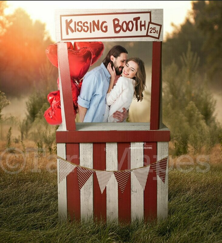 Kissing Booth ADULT SIZED VERSION - Valentine Background - Valentines Day - Kiss - Digital Background / Backdrop