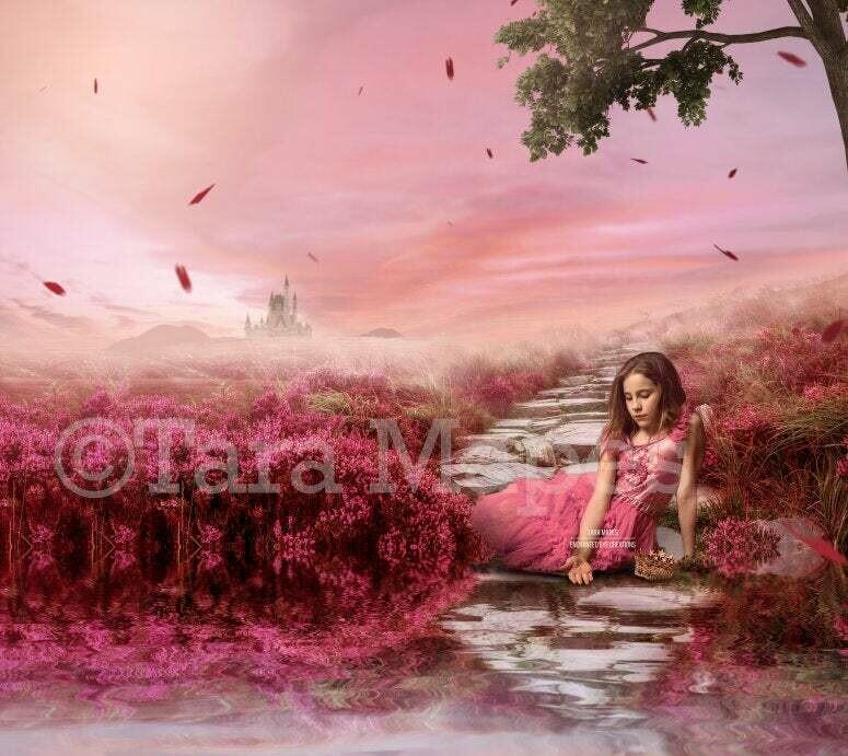 Castle Stairs in Field by Lake - Creamy Field of Flowers Digital Background / Backdrop