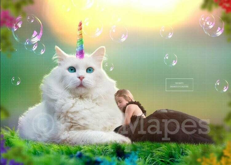 Caticorn (Cat Unicorn) Digital Background Backdrop