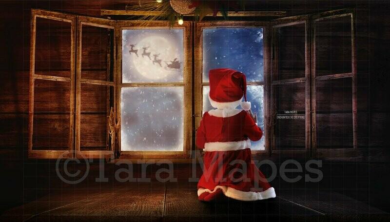 Christmas Attic Window Seat and Window Santa in Moon Digital Background Backdrop
