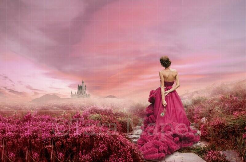 Castle Stairs in Field Digital Background / Backdrop