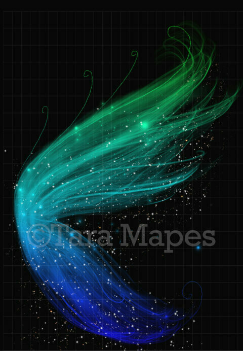 Blue and Green Wings Glitter Sparkly Fairy Wing - Fairy Wing Overlay - Fairy Wing Overlay - Fairy Digital Wing