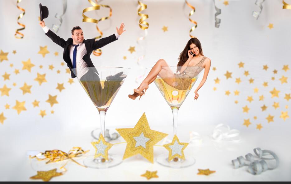 New Years Digital Background LAYERED PSD  - Champagne Glasses - Celebration - New Year Photoshop Digital Background