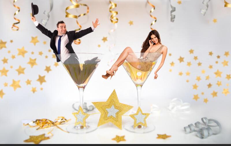 New Years Digital Background LAYERED PSD  - Champagne Glasses - Celebration - New Years Photoshop Digital Background