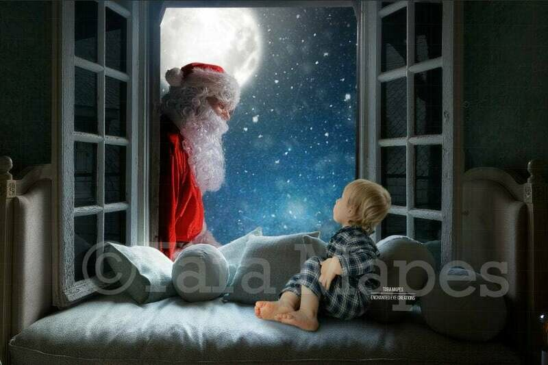 Christmas Window with Santa in Window - Santa in Window Christmas Digital Background Backdrop