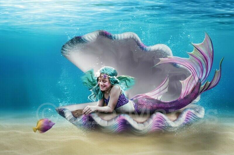 Mermaid Clam - Mermaid Underwater Scene - Ocean Floor-  Digital Background Backdrop