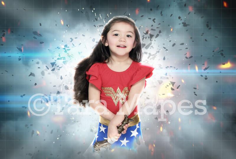 Superhero Explosion Super Hero Digital Background Backdrop