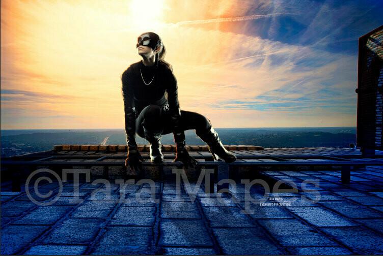 Superhero on Rooftop over City- Rooftop Cityscape- Cincinnati - Digital Background Backdrop