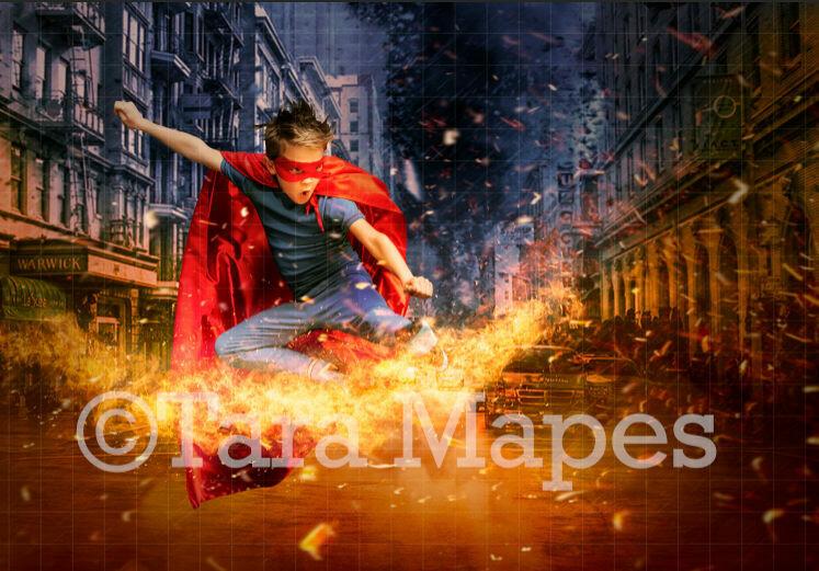 Superhero in Burning City Street Digital Background