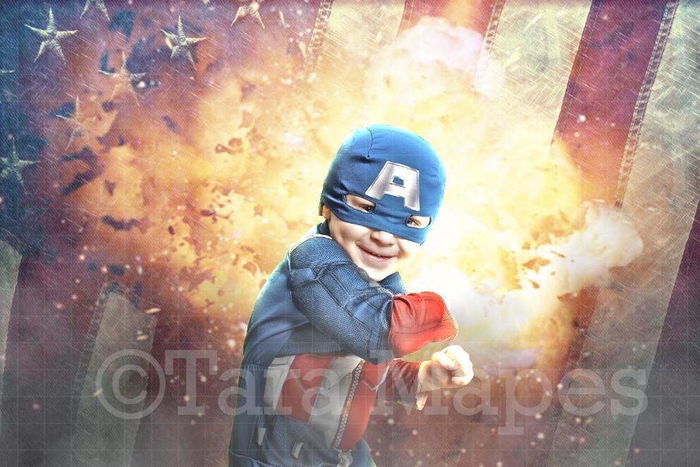 Superhero Fire and Flag Digital Background