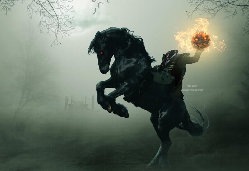 Demon Horse Ridden for a Headless Horseman -  Halloween Digital Background Backdrop