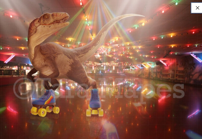 Dinosaur Skating Digital Background