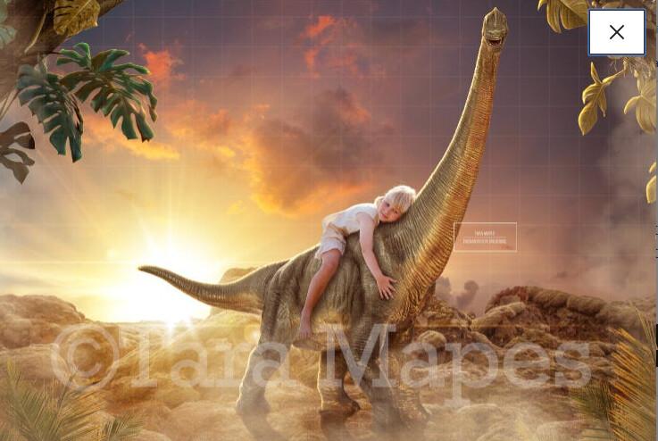 Dinosaurs on Rocks in Sun Digital Background / Backdrop