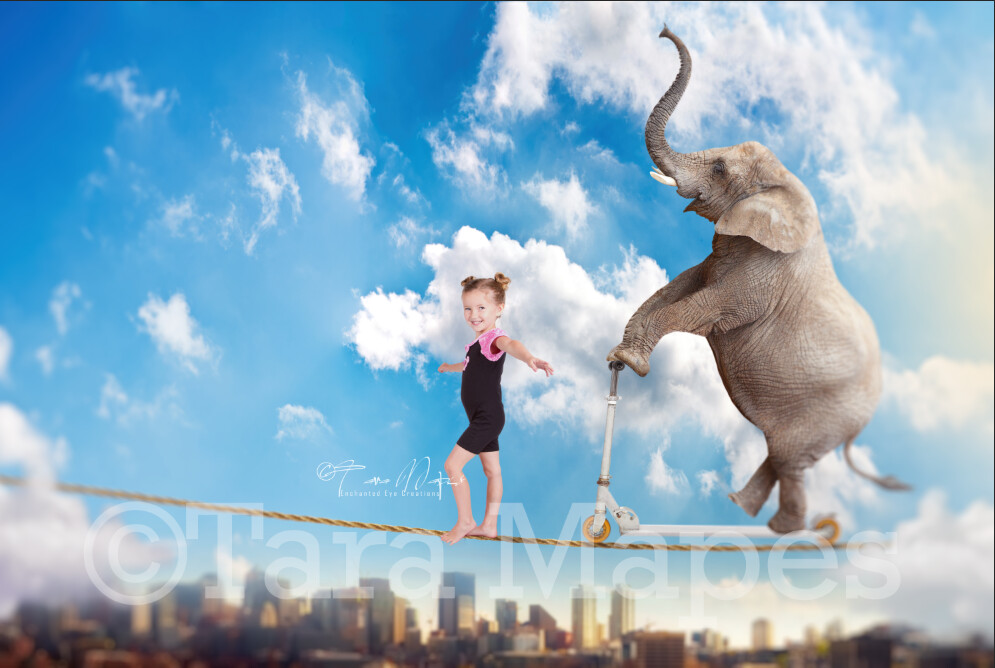 Circus Elephant on Tightrope Digital Background