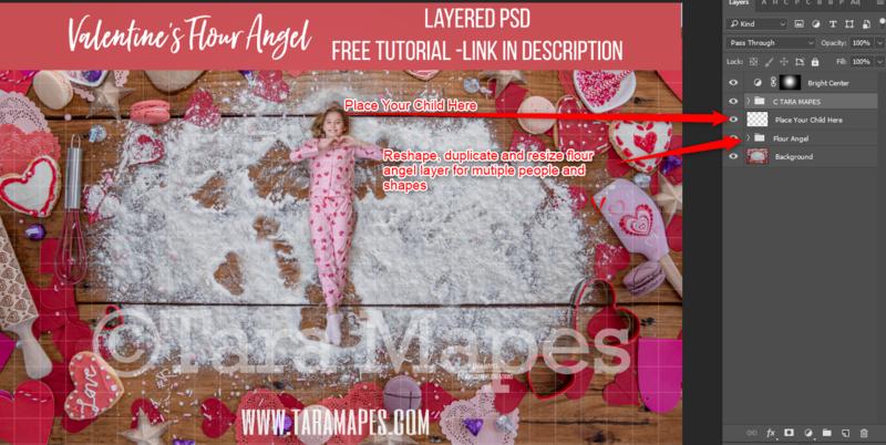 Valentine Digital Background -  Flour Angels - Layered PSD Christmas Cookie  - Christmas Digital Background