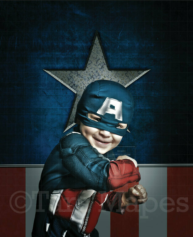 Superhero with Star and American Flag Background Flag Digital Background