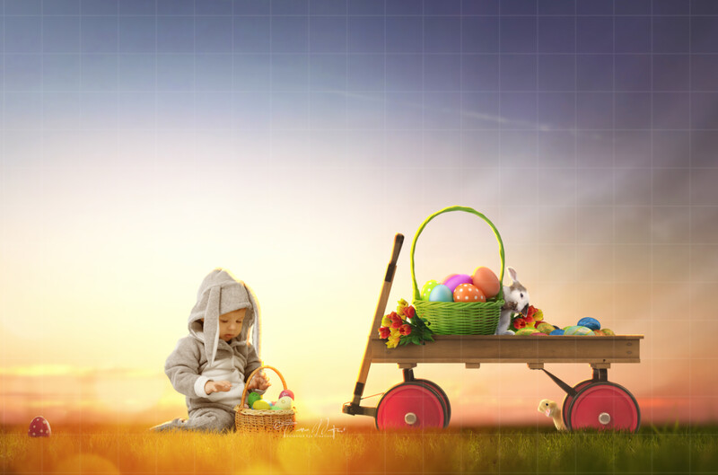 Easter Wagon with Painted Eggs  - Colorful Digital Background / Backdrop