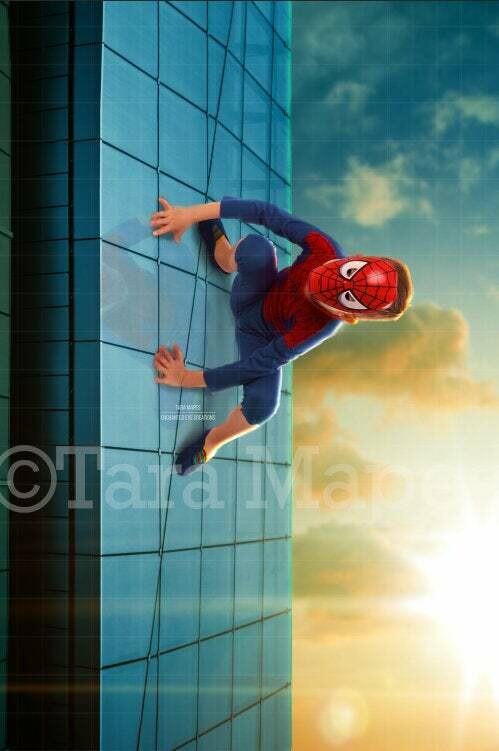 Superhero on Building- Superhero Climbing on Skyscraper Digital Background Backdrop