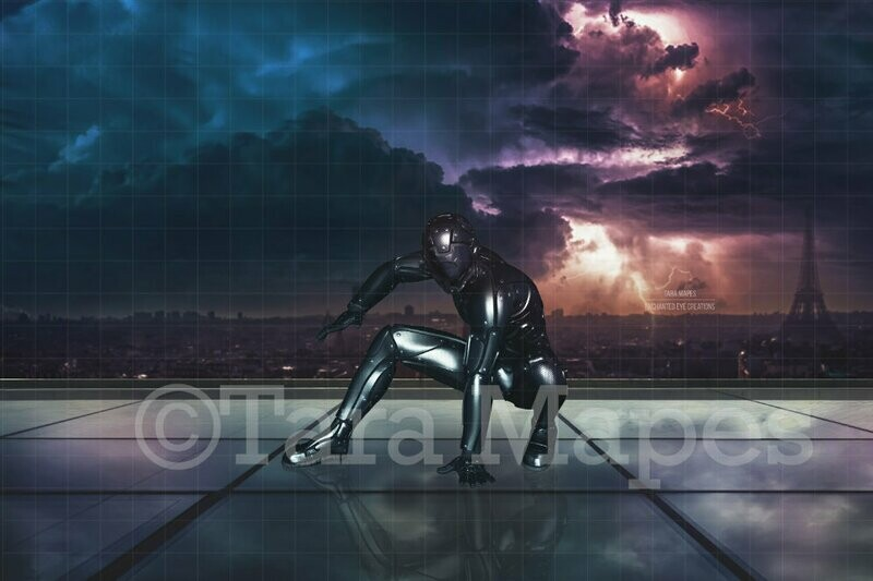 Superhero on Glass Building Rooftop Balcony in Storm Digital Background Backdrop