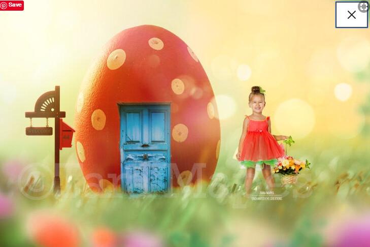 Easter Egg House  - Colorful Digital Background / Backdrop