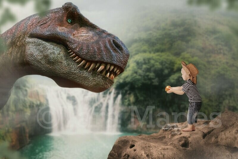 Dinosaur Feed - T Rex in Rain Forest by Waterfall - Close Up -  Dino Digital Background / Backdrop