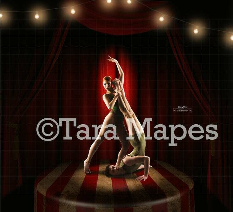 Circus Stage with Lights and Red Curtain Digital Background Backdrop