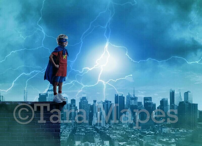 Superhero Scene - Roof top over Stormy City Digital Background