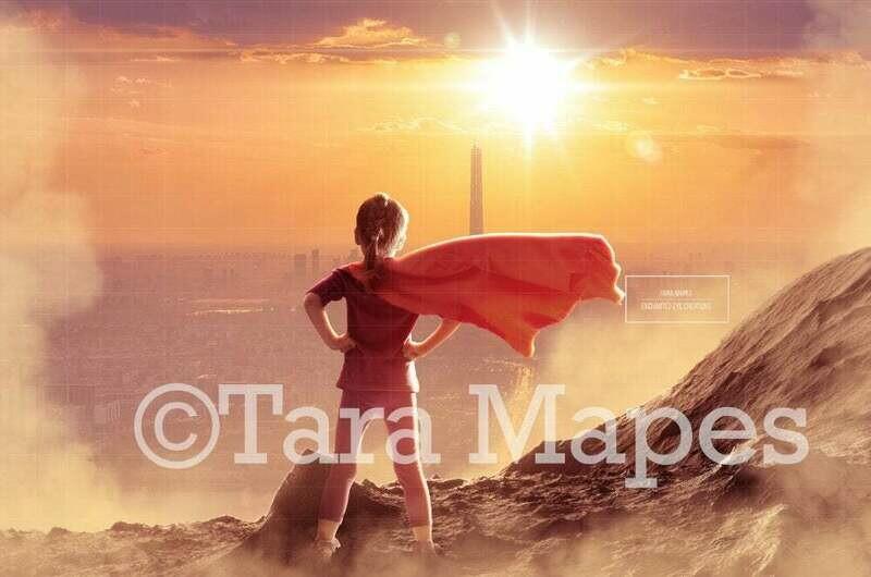 Superhero Over City at Sunset Digital Background Backdrop