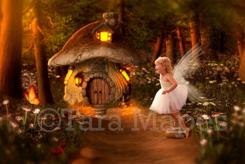 Fairy House in Enchanted Forest - Magical Forest Fairy Path Digital Background / Backdrop