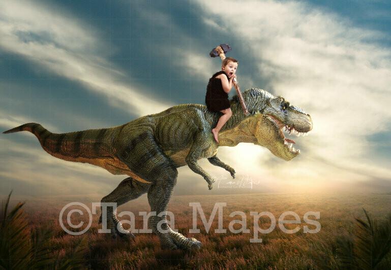 Dinosaur in Field - Trex in Field- Sunset dino - Digital Background Backdrop