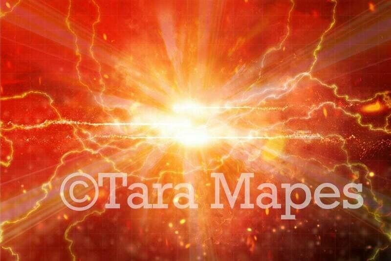 Superhero Flash Fire Lightning Digital Background Backdrop