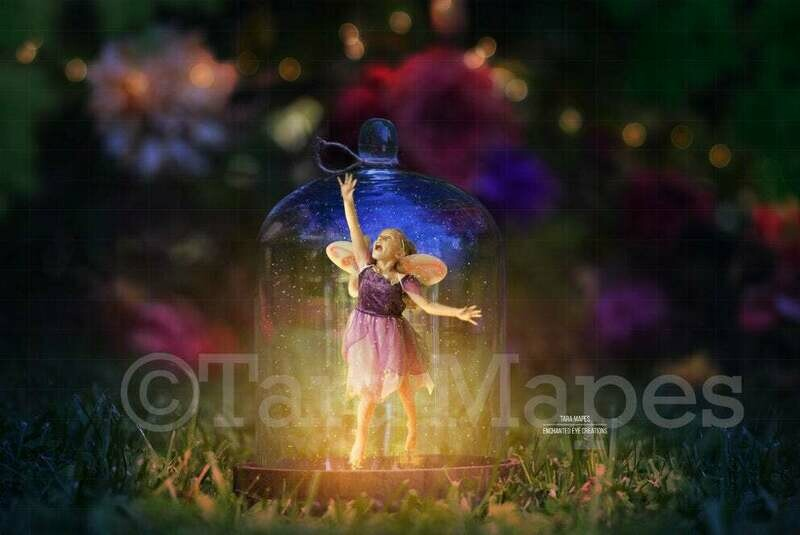Fairy Jar in Forest - Fairy Trap in Jar with Glitter Overlay Digital Background