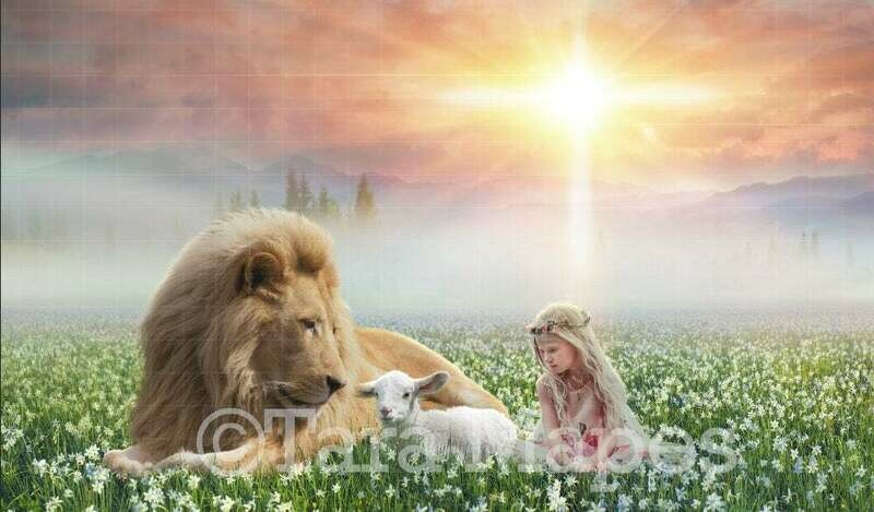 Lion and Lamb Easter Religious Digital Background